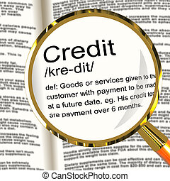 Credit Definition Magnifier Showing Cashless Payment Or Loan...