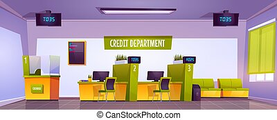 Credit department interior in bank office