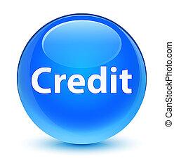Credit glassy cyan blue round button