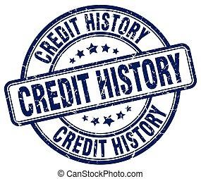 credit history blue grunge round vintage rubber stamp