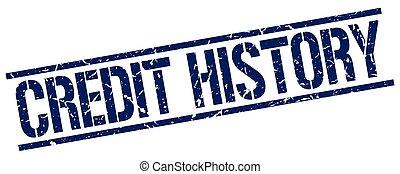 credit history blue grunge square vintage rubber stamp