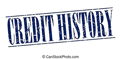 credit history blue grunge vintage stamp isolated on white background