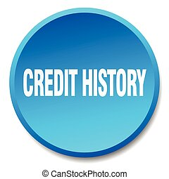 credit history blue round flat isolated push button