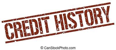 credit history brown grunge square vintage rubber stamp