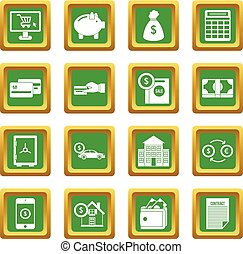 Credit icons set green
