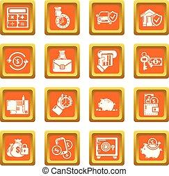 Credit icons set orange square vector