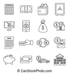 Credit icons set, outline style
