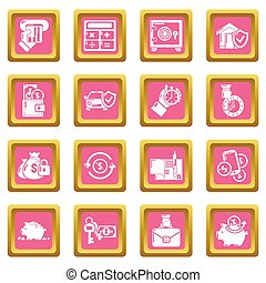 Credit icons set pink square