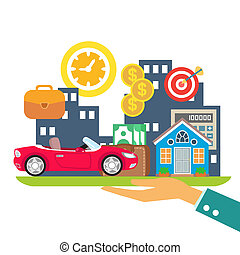 Lifestyle in credit, leasing and mortgage colors concept vector illustration