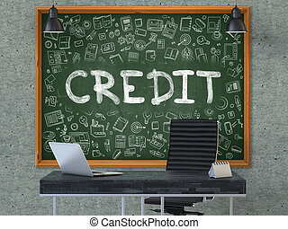 Credit on Chalkboard with Doodle Icons.