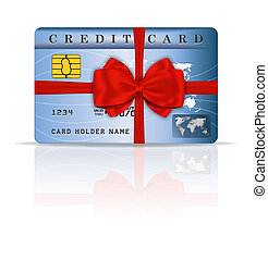 Credit or debit card design with red ribbon and bow. Vector...