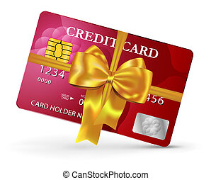 Credit or debit card design with yellow ribbon and bow....