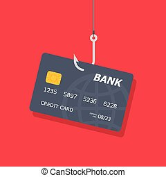 Credit or debit card on fishing hook, internet security....