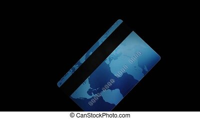 Credit plastic card turning, spinning isolated on black background. Online payment. Cash withdrawal. Business financial operations concept. Shopping sign. Copy-space mockup advertising. 6K downscale