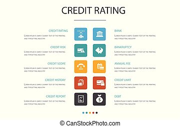 credit rating Infographic 10 option concept. Credit risk, ...