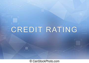 Credit rating word on blurred and polygon background
