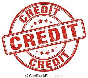 credit red grunge round vintage rubber stamp