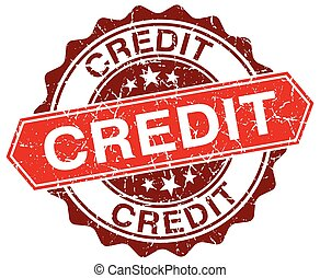 credit red round grunge stamp on white