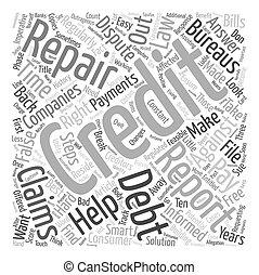 Credit Repair Steps text background wordcloud concept