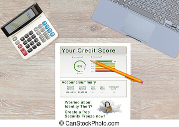 Credit report and lock or freeze recommendation on desk