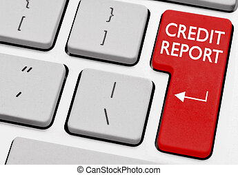 Credit report printed on a computer key