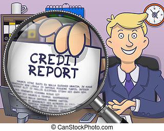Credit Report through Lens. Doodle Design.