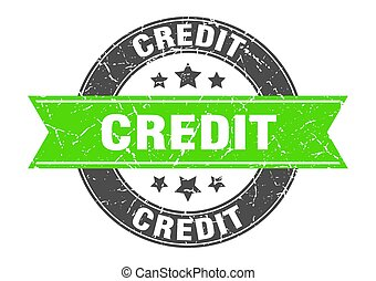 credit round stamp with green ribbon. credit