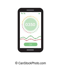 Credit score app gauges. Vector illustration in flat style.