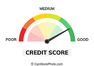 Credit score assessment icon. Speedometer gauge green good and bad credit score rating.