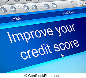 Credit score concept. - Illustration depicting a computer...