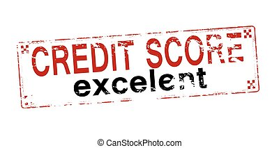 Rubber stamp with text credit score excelent inside, vector illustration