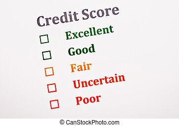 Credit score form..