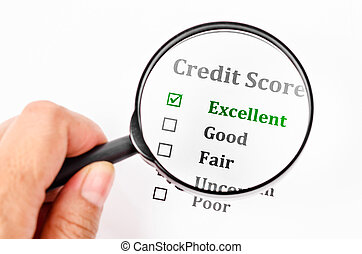 Credit score form with magnifier glass.