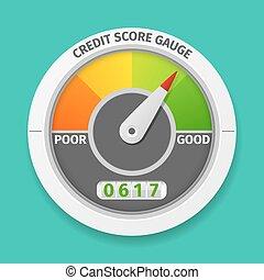 Credit score gauge good and bad rating, information financial rate, vector illustration