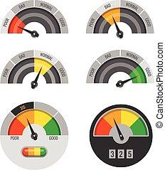 Credit score indicators vector set. Pointer rating finance indication illustration