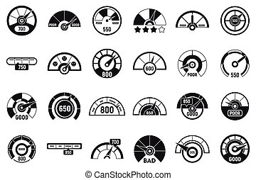 Credit score meter icons set, simple style