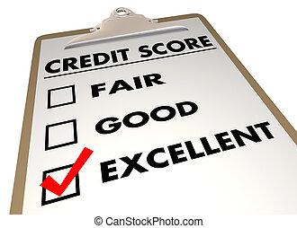 Credit Score Rating Checklist Clipboard 3d Illustration