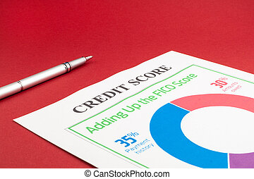 Credit score report and pen on the red table