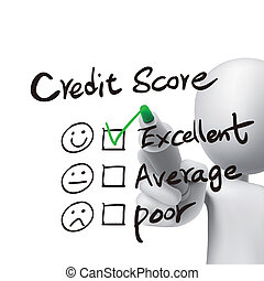 credit score words written by 3d man