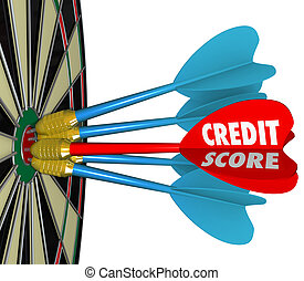 Credit Scores Darts on Dartboard Aiming for Best Number