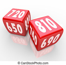 Credit Scores on Red Dice - Two red dice with credit scores...