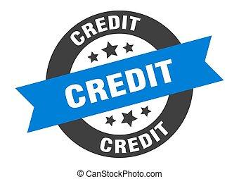 credit sign. credit blue-black round ribbon sticker