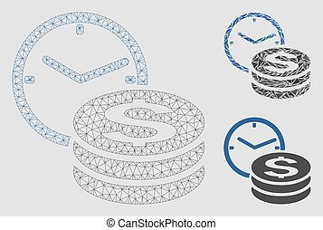 Credit Vector Mesh Wire Frame Model and Triangle Mosaic Icon