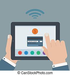 creditcard, móvil, pago, tenencia de la mano, tableta, plano, diseño