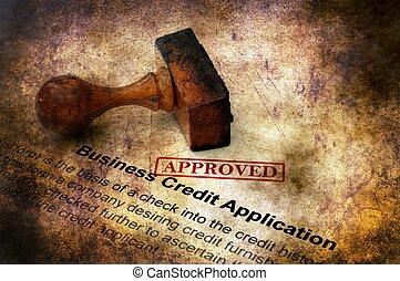 credito, approvato, affari, domanda