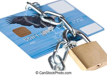 credito, cerrar con llave, tarjeta