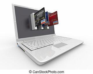 credito, computador portatil, e-commerce., card.