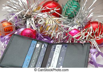 credito, debts?, medio, tarjeta de navidad, más