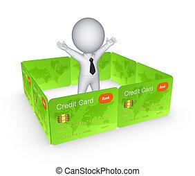 credito, dietro, schede., parete, persona, 3d, piccolo