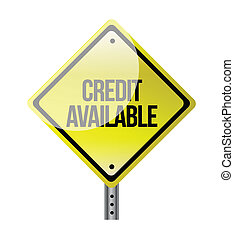 credito, disponibile, segno strada, illustrazione